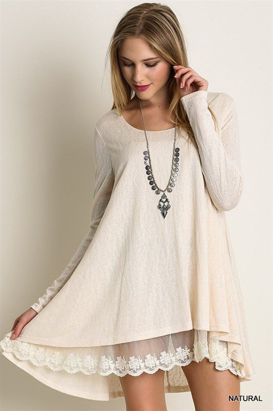 Elegant Long Sleeve Knit Top with Lace Front Hi-Low Bottom Dress.                                                                                                                                                                                 More