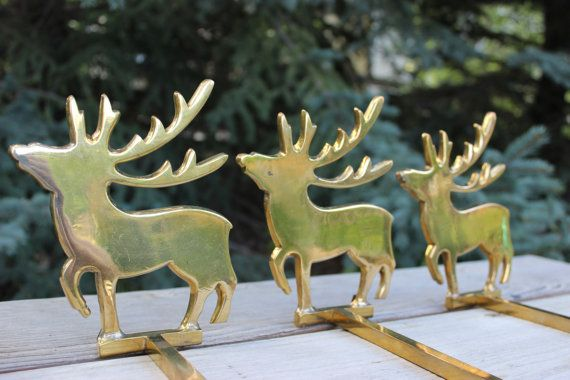 Set of 5 Solid Brass Reindeer Christmas Stocking by objectsofvirtu