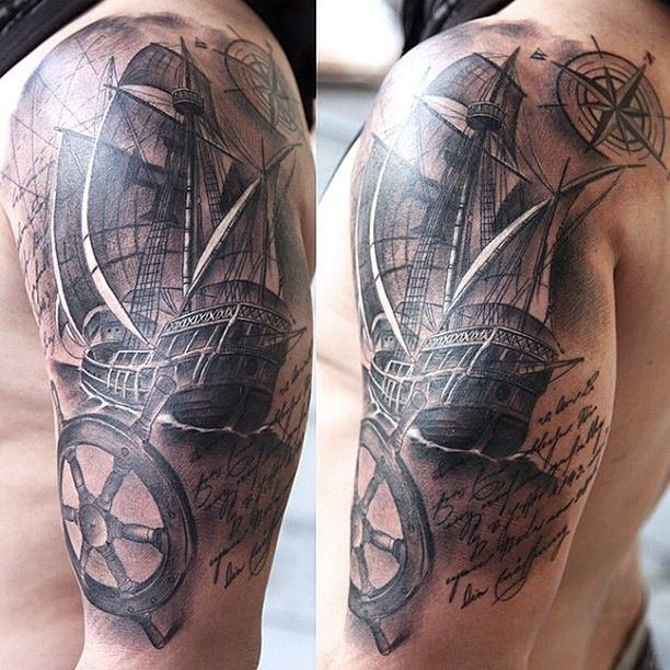 Tattoo Ideas Upper Arm Sleeve: Ship Sleeve Upper Arm Tattoo By Miguel.