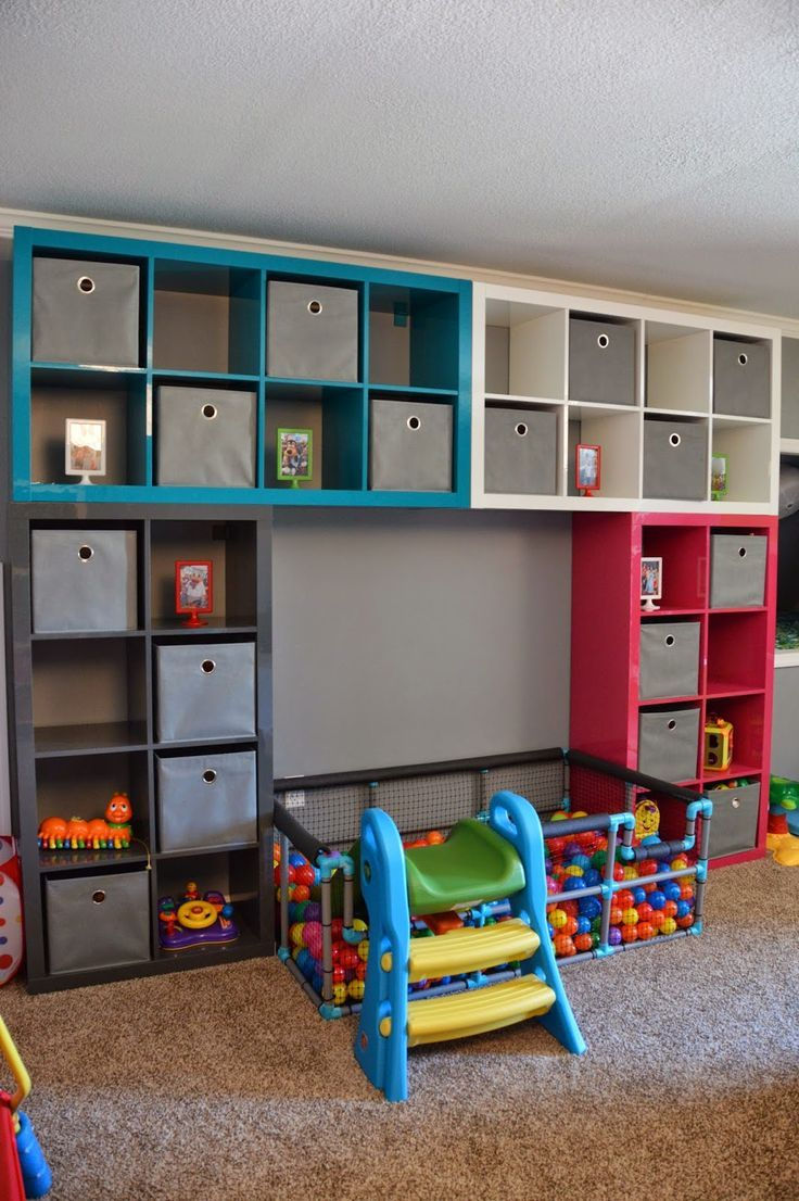 Ikea playroom diy ball pit also shows a neat idea for a train lego table kid stuff - Toy shelves ikea ...