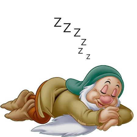 "Zzzzz...Sleepy, one of the seven dwarfs from ""Snow White and the Seven Dwarfs""."