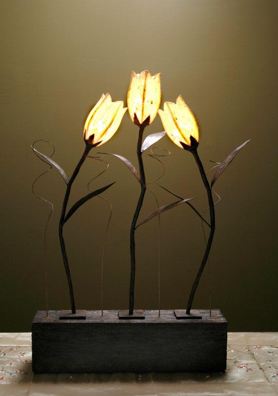 3 stem handmade flower lamp by HanjiHome on Etsy,