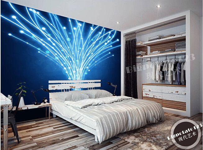 Barato A 3D murais, Azul fantasia de linha abstrata papel de parede, Bar KTV fundo papel de parede, Compro Qualidade Papéis de parede diretamente de fornecedores da China:        O mais recente personalizado 3D murais, azul fantasia linha dinâmica abstrato papel de parede, Bar KTV fundo pape