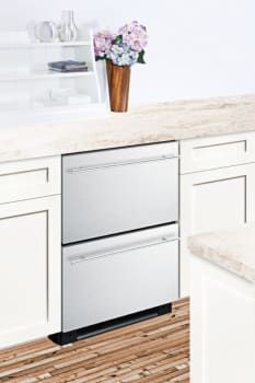 Summit SPRF2D5X 24 Inch Undercounter Refrigerator and Freezer Drawers with Built-in Installation Capability, Professional Handles, Digital Temperature Control, Frost-Free Performance, Open Drawer Alarm and Interior Lighting