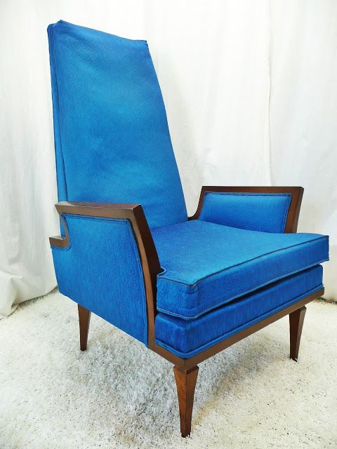 Blue High Back Chair Dining Room Chair High Back