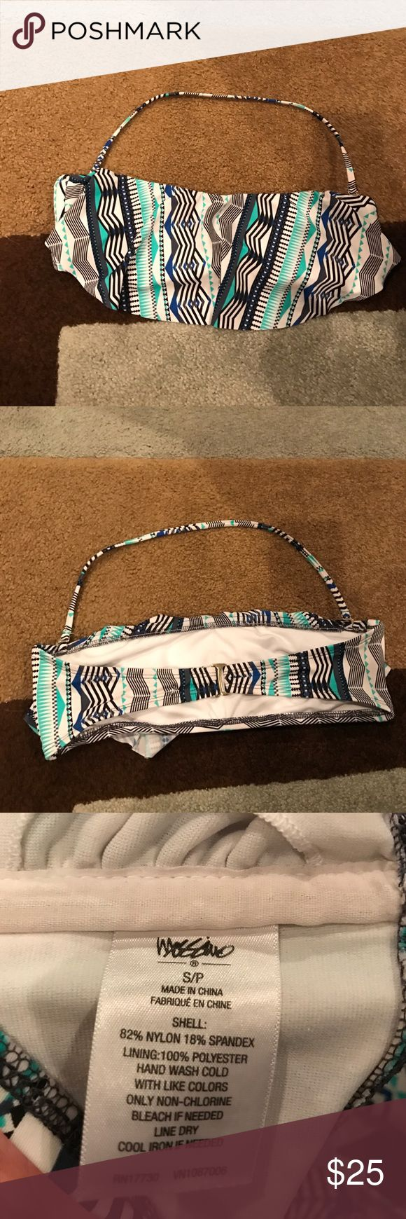 Bikini top Blue, black, teal, and white. Flowy. Can take off the strap to make it strapless. Bandeau. Only worn twice. Only reason for sale is because it's too small for me now. Super cute!! Mossimo Supply Co Swim Bikinis