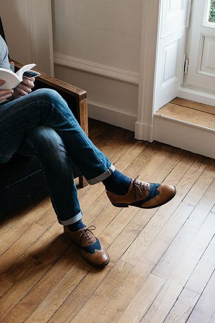 #chaussures #Hacter #marque #mode #homme #french #brand #men #fashion #shoes #richelieu #cuir #camel #denim #recyclé #recycled #fabrics #ecofriendly #sustainable #durable #responsable #trendy #chic #elegant #dandy Photo : Aurélie Lécuyer #AurelieLecuyer @ledansla