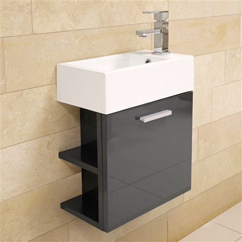 Katia Wall Hung Vanity Unit with built in shelves and basin - £159 | Bathroom Heaven http://www.bathroomheaven.com/katia/katia-wall-hung-vanity-unit-with-basin-44x22cm-gloss-grey-24157.aspx