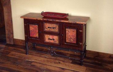 Copper Console, Reclaimemd Hammered Copper Furniture