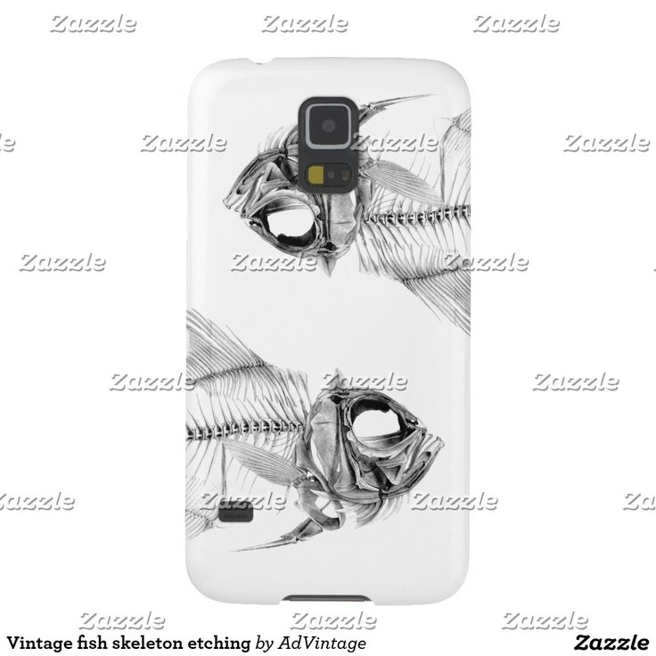 Vintage fish skeleton etching galaxy s5 cover