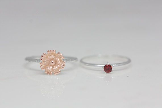 January - Carnation, Garnet. For celebration, these birth flower and stone rings are best choice ever. birth flower ring is made by hand carved as real flower and so delicate. birth stone ring is made of sterling silver and high quality stone. as a gift, it is perfect for birthday and