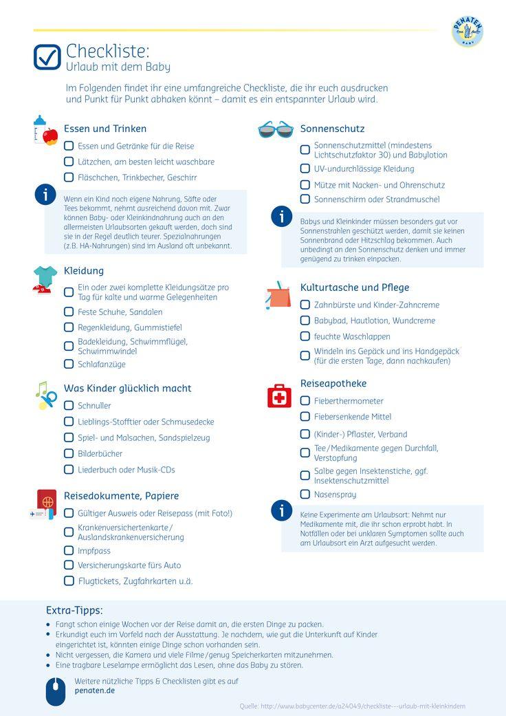 Ready for Boarding? Für eure erste, aufregende Reise mit Baby haben wir euch eine praktische Checkliste zusammengestellt - damit nichts schief gehen kann! ;-) #Penaten #Reise #Holidays #Baby #ReiseChecklist #Checklist