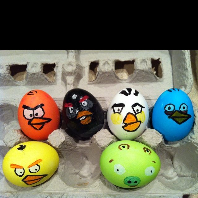 Angry Birds Easter Eggs! Made these today with Caleb.
