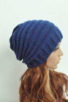 Mano sombrero de punto de lana azul Cable Gorro de lana por MaxMelody en Etsy
