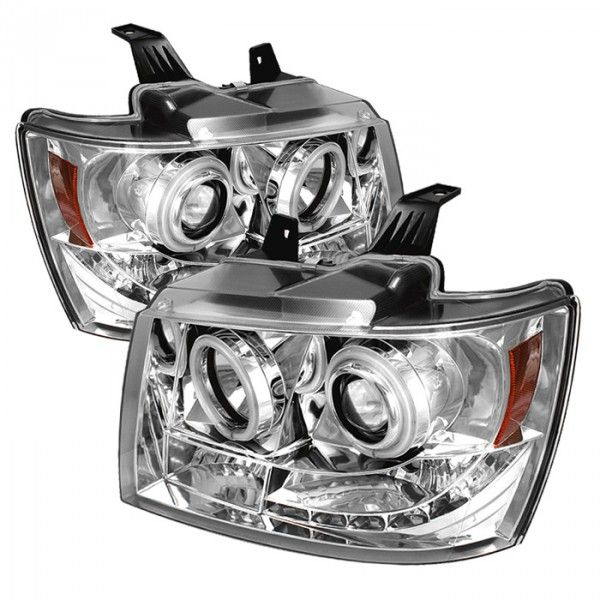 2009 Chevy Avalanche Chrome/Clear CCFL Projector Headlights for SUV/Truck/Crossover - Spyder - (pair)