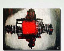 Original pintura abstracta, arte de la lona rojo blanco y negro, arte de pared grande, contemporáneo moderno texturado espátula sala galería arte vivo