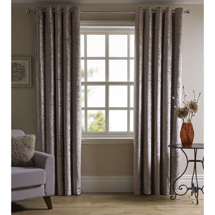 Wilko Crushed Velvet Effect Eyelet Lined Curtain Natural 167x137cm