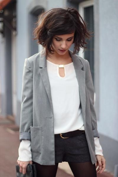 chez Coline: même l'automne le short c'est possible avec de jolies collants et de belles chaussures. Look casual chic