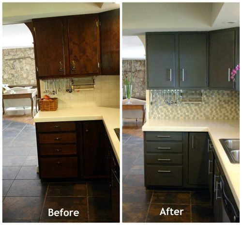 Brown cabinets turned grey love this makeover for Brown kitchen cabinets with black appliances