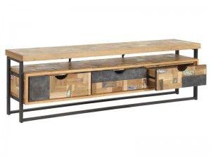 Tv Regal Im Industriedesign Lowboard Aus Metall Und Holz Mit Drei
