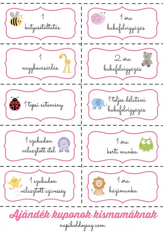 Nyomtatható ajándék kuponok kismamáknak | Napi Boldogság
