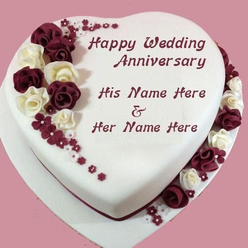 Wedding Day Images With Name: Happy Wedding Anniversary Cake Images With Name