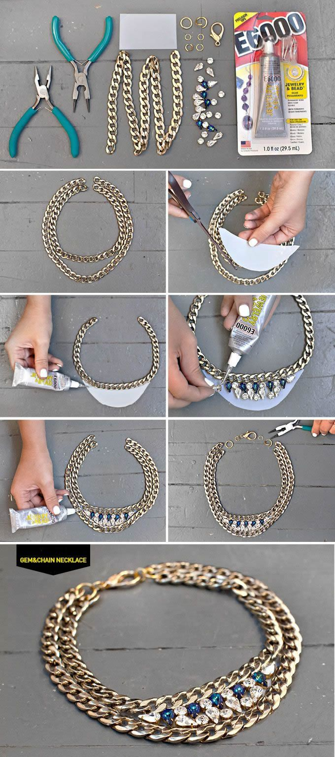 Rhinestone & Chain Necklace DIY, jewelry DIY http://tech.beads.us/details-Rhinestone-&-Chain-Necklace-3006.html