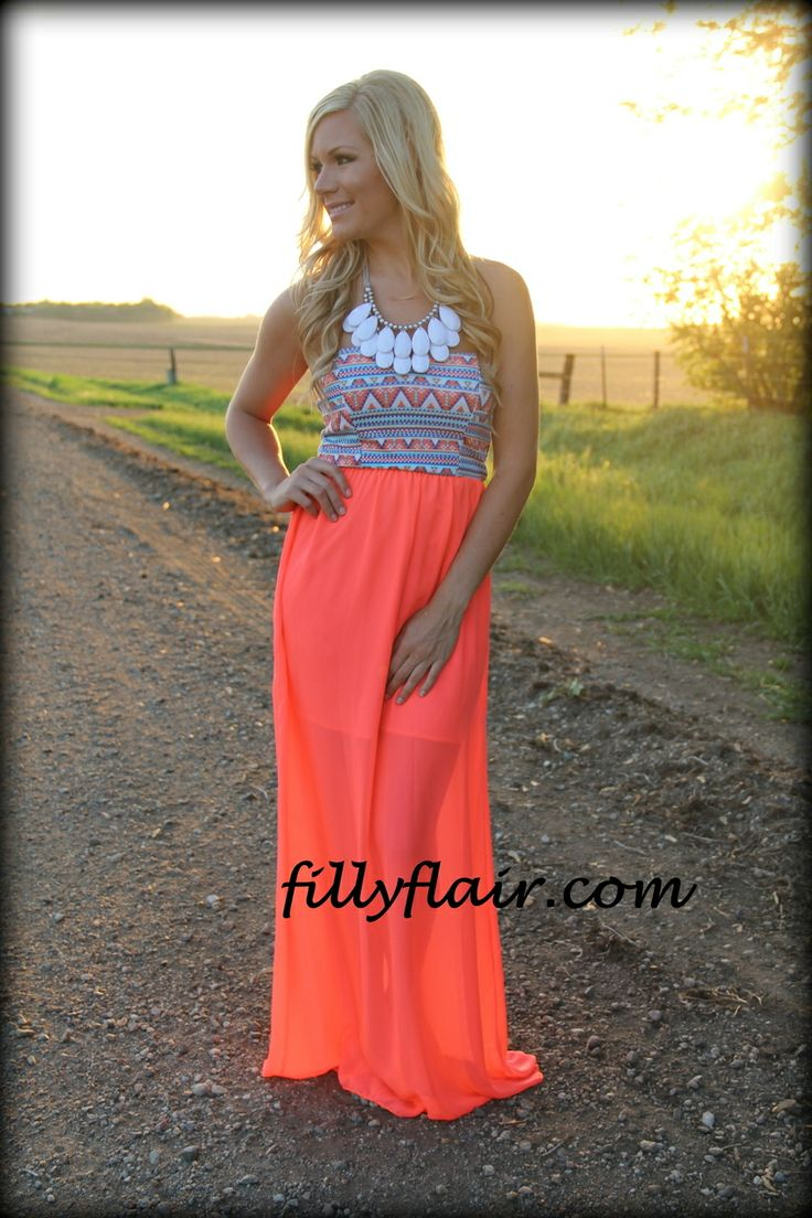 Shimmered neon maxi dress