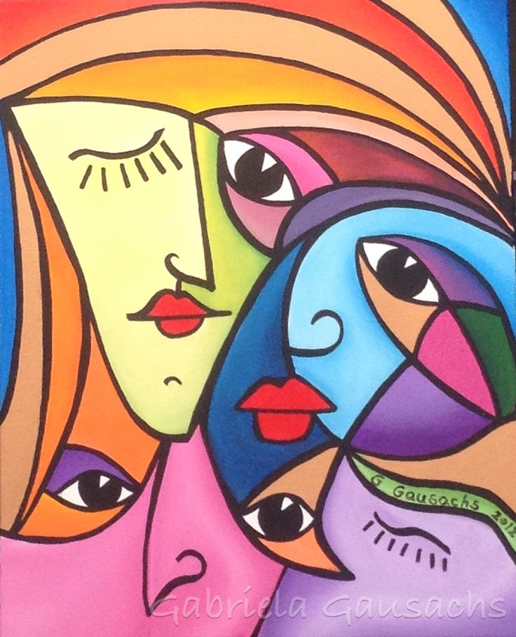 """Original acrylic painting 16""""x19.5"""" abstract faces, # intuitivepainting # art #…"""