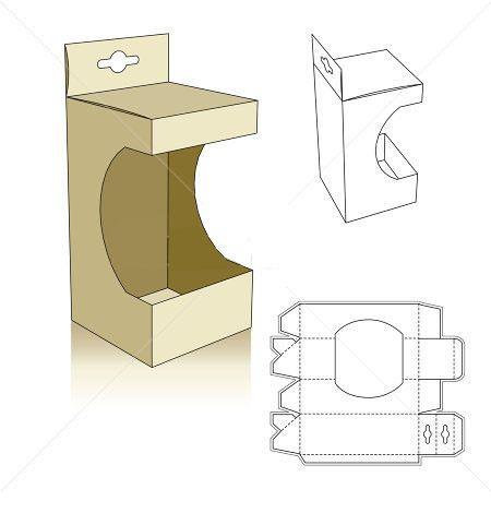 window box template Patron boîte packaging