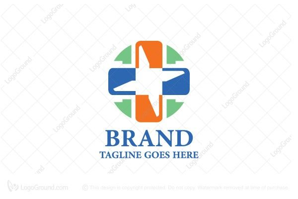 Playful and modern logo of a medical cross sign that is stylized and modern looking. Colors are blue and orange.