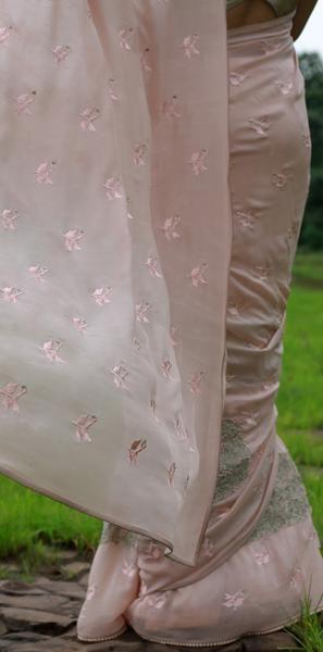 Peach Sorbet and Pearls Pure Silk Chiffon Saree