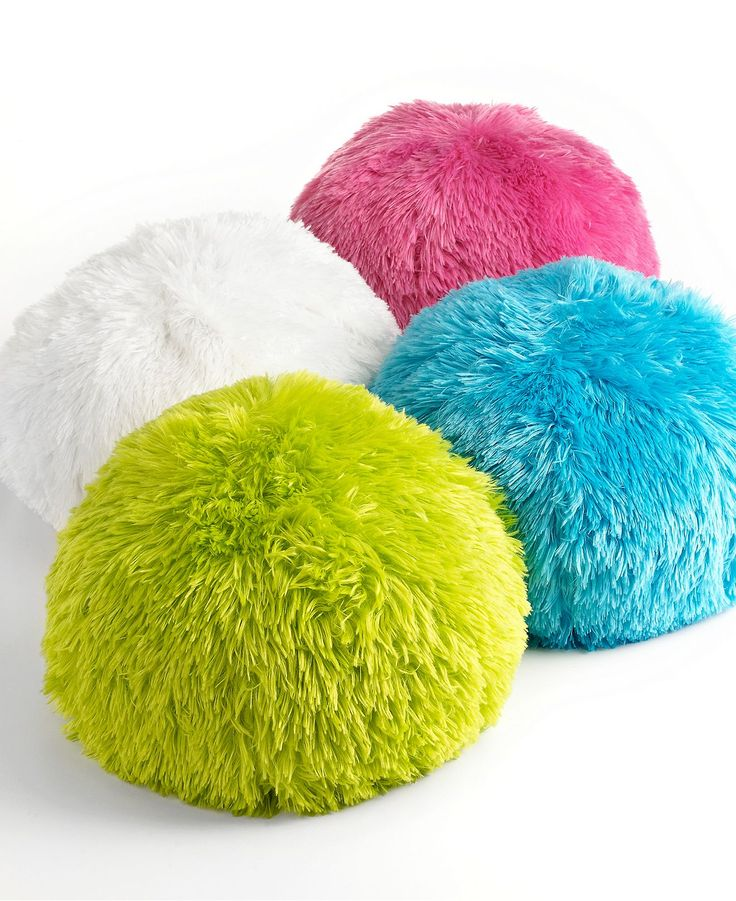 Round Decorative Pillow Set : Teen Vogue Bedding, Long Hair Circle Pouf 15