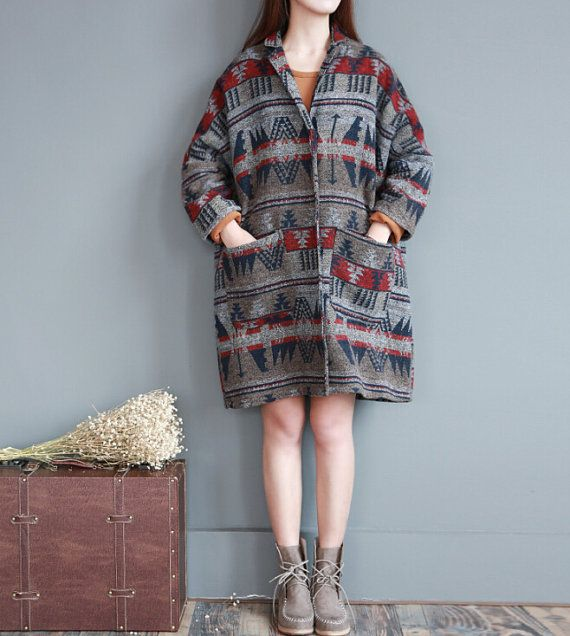 spring large size coat Loose Fitting Long Overcoat by MaLieb