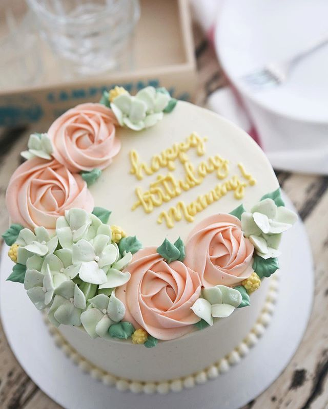 Birthday Wishes Flower Cake Pastel: One Of Our Most Asked For Buttercream Floral Cake; A