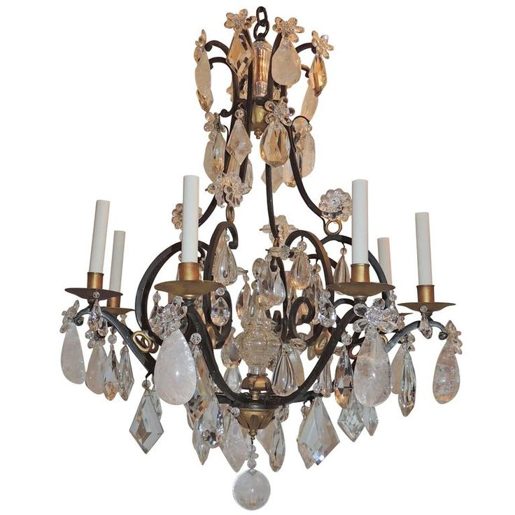 28 best rock crystal chandelier images on pinterest crystal wonderful french bagues wrought iron gilt rock chandelier quartz jansen fixture antique chandeliermodern chandeliercrystal aloadofball Image collections