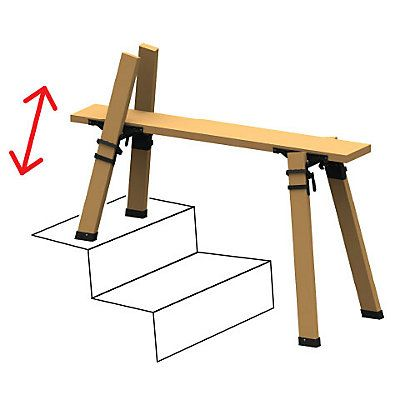 These customizable sawhorse brackets (2 pairs) allow you to adjust to any length, width or height. With a truly innovative design, the 3D MultiHorse can be assembled and dissembled in seconds. Simply use pull pins to adjust the width, release leg clamps to adjust each leg to an independent height, and your plank determines the overall length. Designed with dual-action clamp release handles for increased safety & security. It really is EVERY SAWHORSE YOULL EVER NEED!