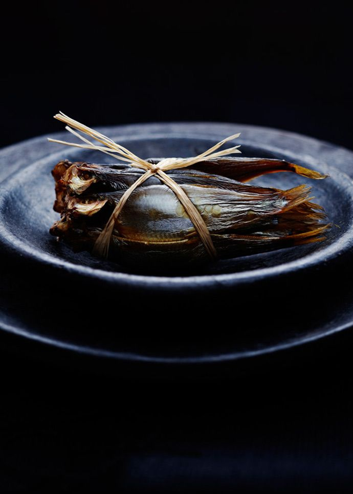♂ food with interesting dark setting. still life. Iron series Bunch of sprats