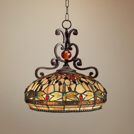 Briar dragonfly 18 wide dale tiffany pendant light