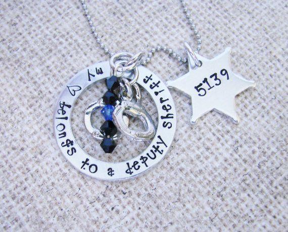 My heart belongs to a deputy sheriff- hand stamped jewelry- necklace-personalized- police jewelry- deputy sheriff- Thin blue line on Etsy, $32.00