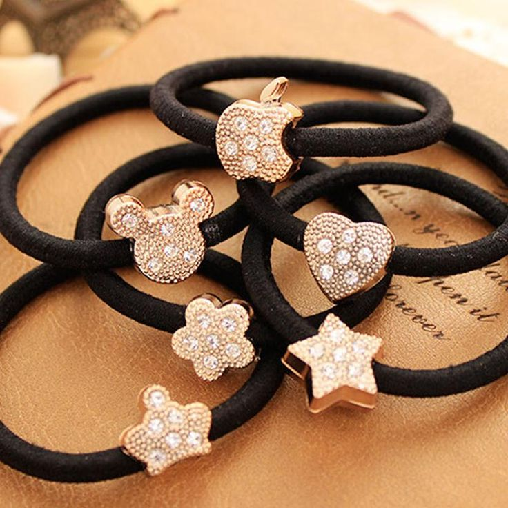 8 Style Selectable Golden Crown Stars Apple etc Crystal Elastic Hair Bands Headwear Hair Accessories for Kids Girls Women