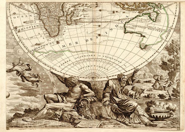 Юго-восточная часть карты мира. Франция, 1708 - почтовая открытка