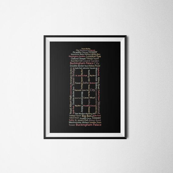 London print London art Wall art Typography by HomeDecorDrawing