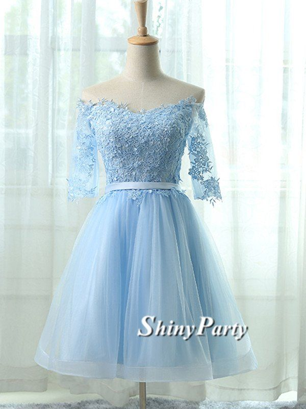 Cute Lace Short Light Blue Prom Dresses, Light Blue Homecoming Dresses, Bridesmaid Dresses