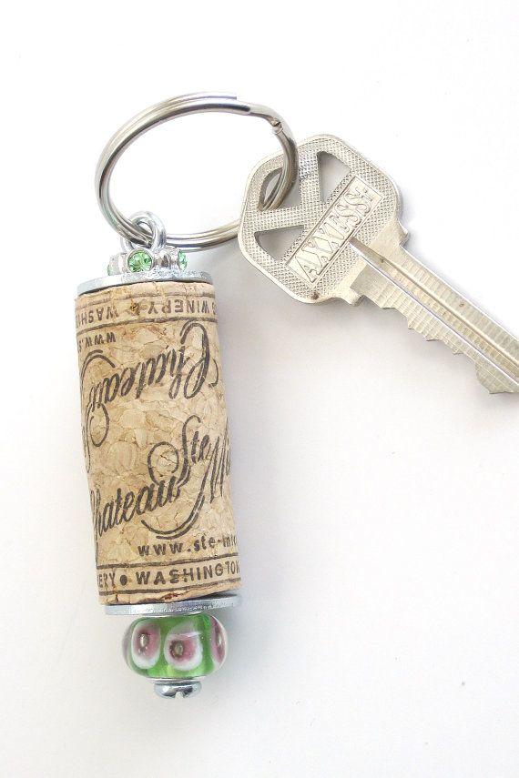 Wine cork keychain by lizkingdesigns on Etsy, $6.95