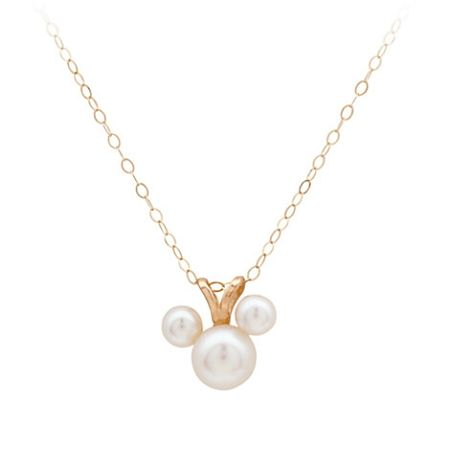 Disney Necklace - Pearl Mickey Mouse Icon - 14 KT Gold