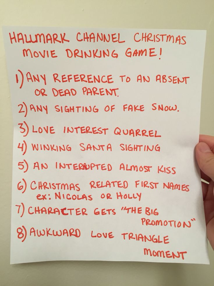 The Hallmark Channel Christmas movie drinking game.