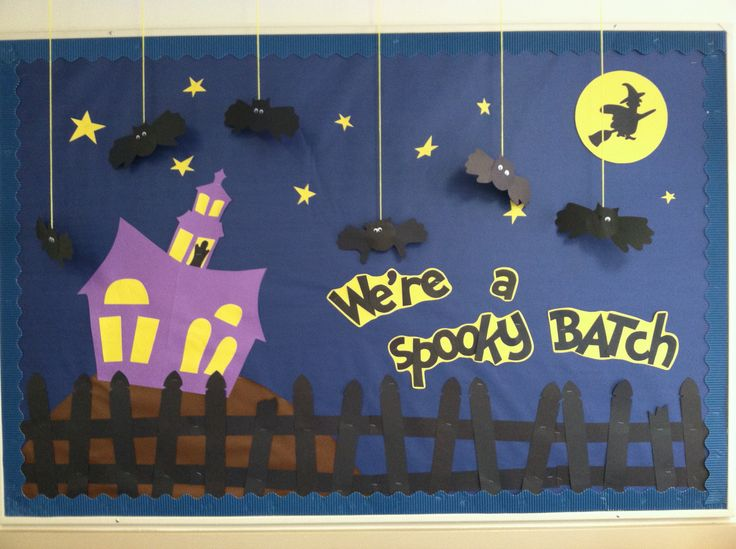 Halloween bulletin board #bat #witch #ghost                                                                                                                                                     More