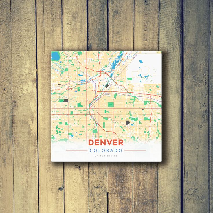 San Francisco Air Quality Map%0A Gallery Wrapped Map Canvas of Denver Colorado  Modern Colorful  Denver Map  Art