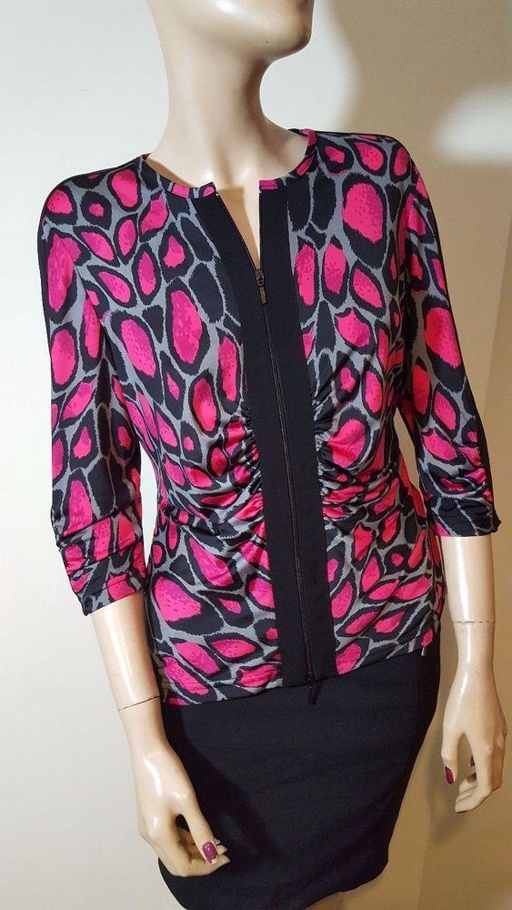 Joseph Ribkoff Size 14 / US 12 Black Grey Pink Leopard Animal Print Cardigan Top #JosephRibkoff #Cardigans